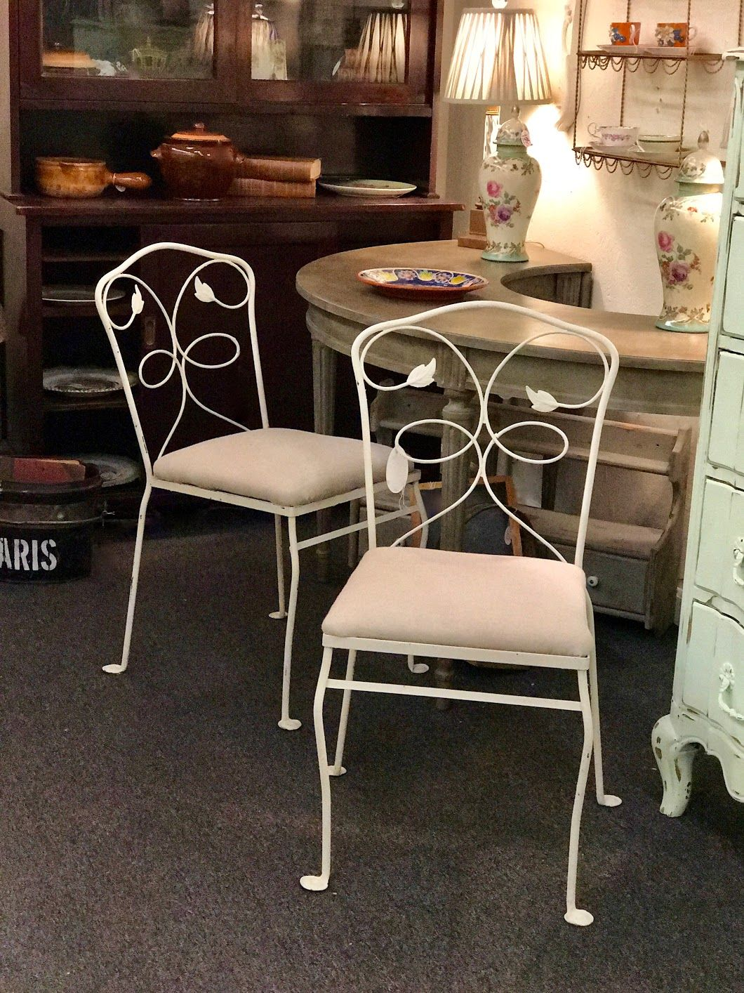 pair metal garden chairs with new linen upholstered seats 129 pair rh pinterest co uk