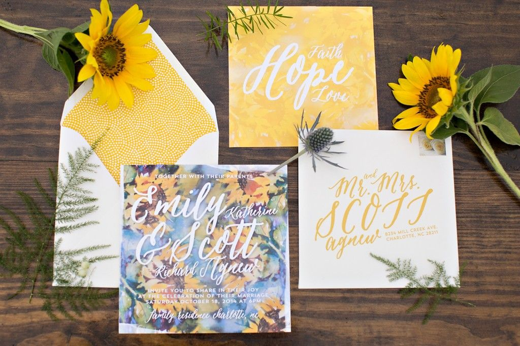 sunflower wedding invitations printable%0A Creative watercolor inspired wedding invitation suite for the sunflower  field styled shoot   Design and Planning