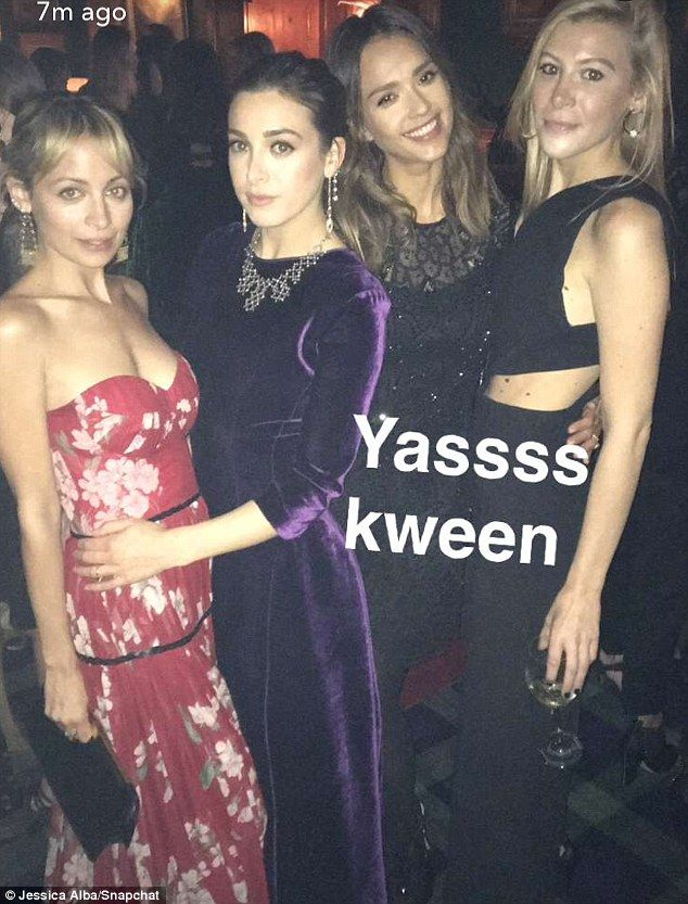 'Yassss kween': Nicole Richie wore a stunning, floor-length floral gown as she joined Jess...