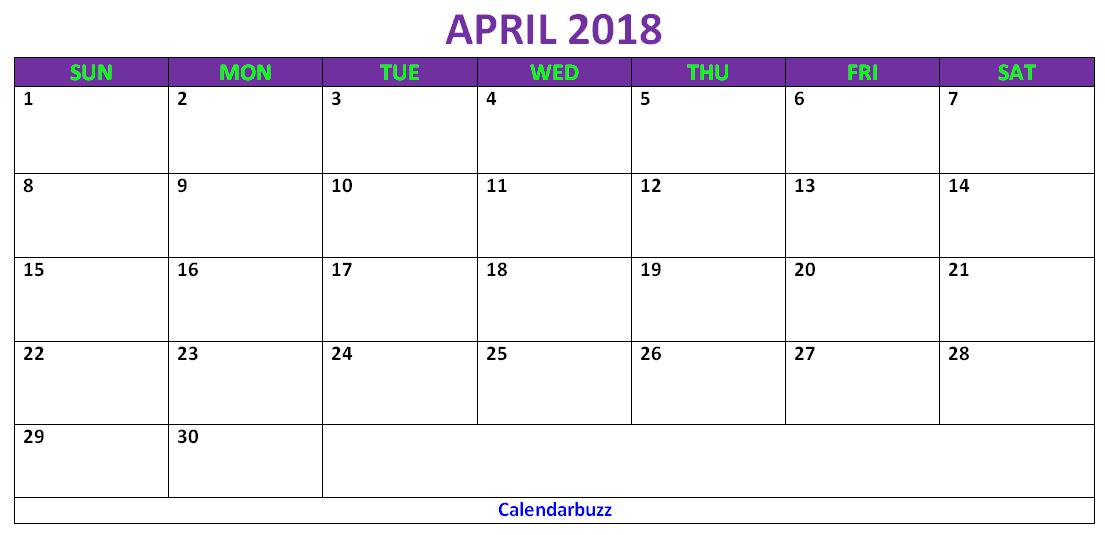 Blank april 2018 calendar template free 2018 blank calendars blank april 2018 calendar template free maxwellsz