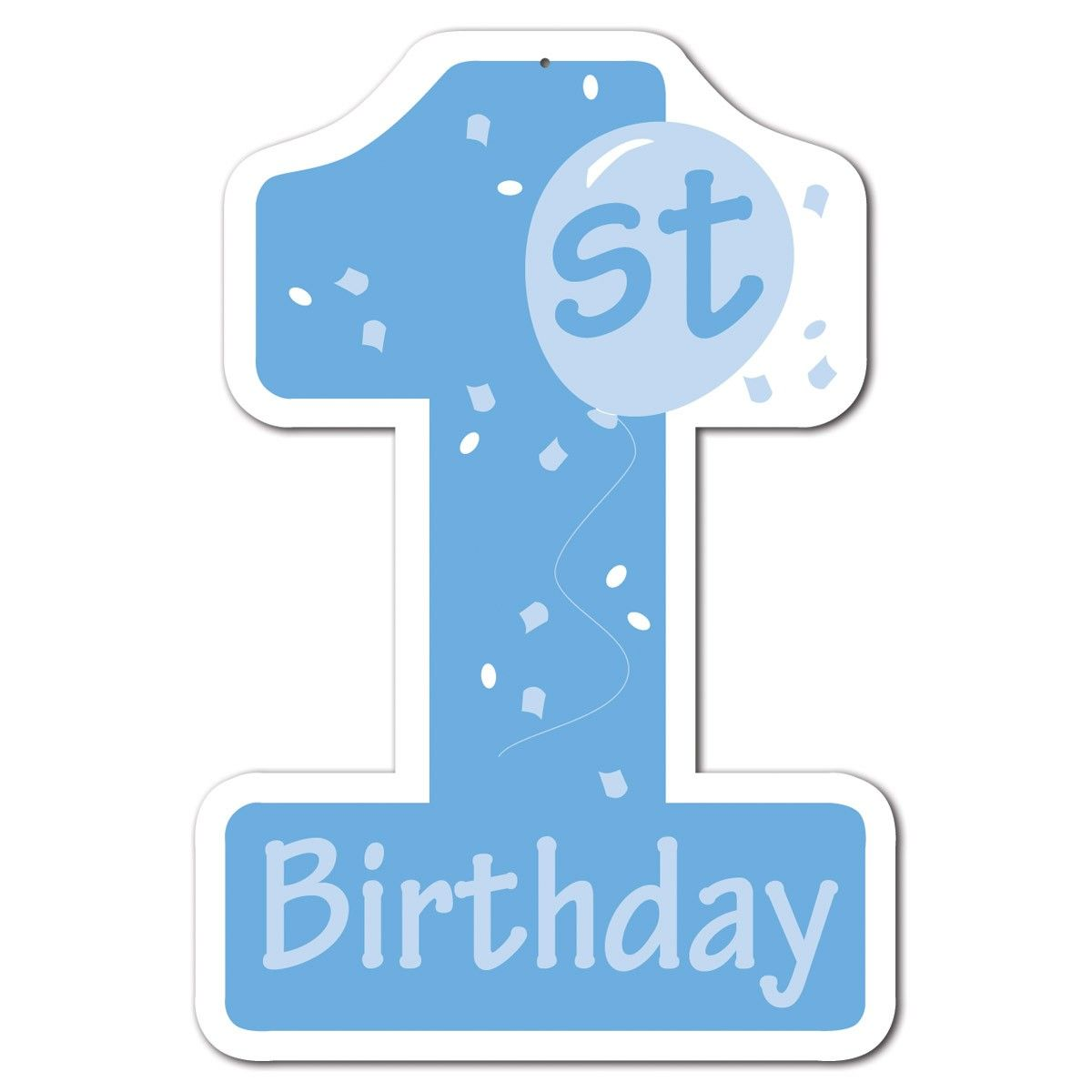 1St Birthday Blue Number 1 Cutout 40cm Party Decoration  first ...