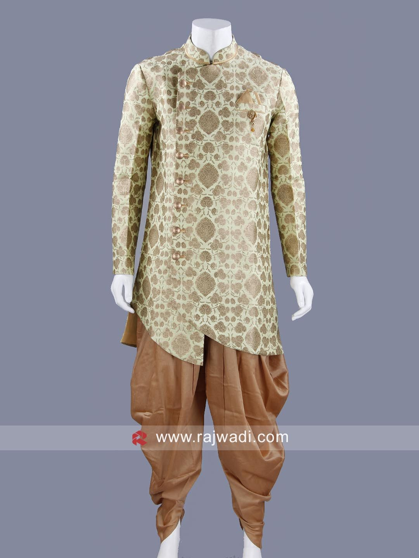 Brocade silk pista green top and golden patiala rajwadi