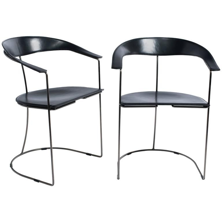 pair italian modern black leather armchairs by arrben dining room rh pinterest com