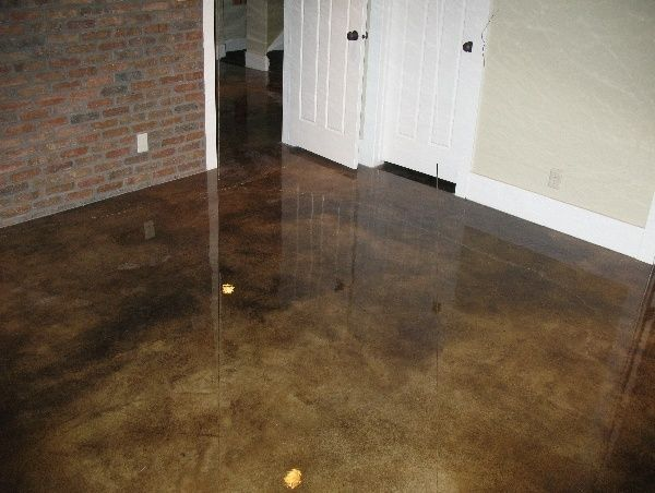 Stained concrete floor obsessed love this grey brown for Perfect concrete floors