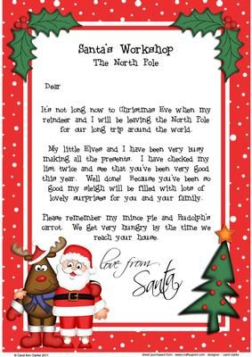 Christmas Santa Rudolph A Child S Letter From Santa On