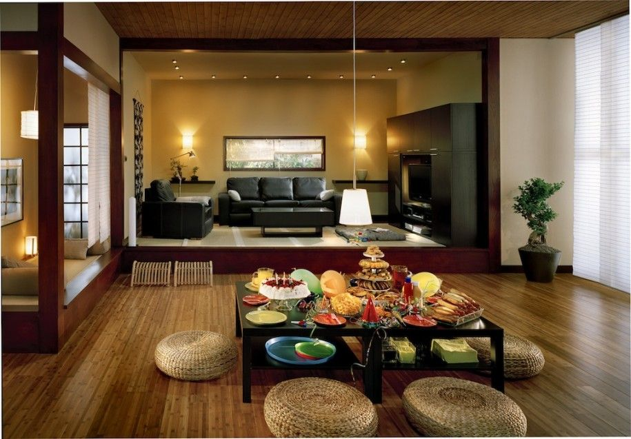 Amazing Japanese Interior Design with Natural Looks : Rattan Chairs Wooden Floor Cahndelier Modern Japanese Interior Design