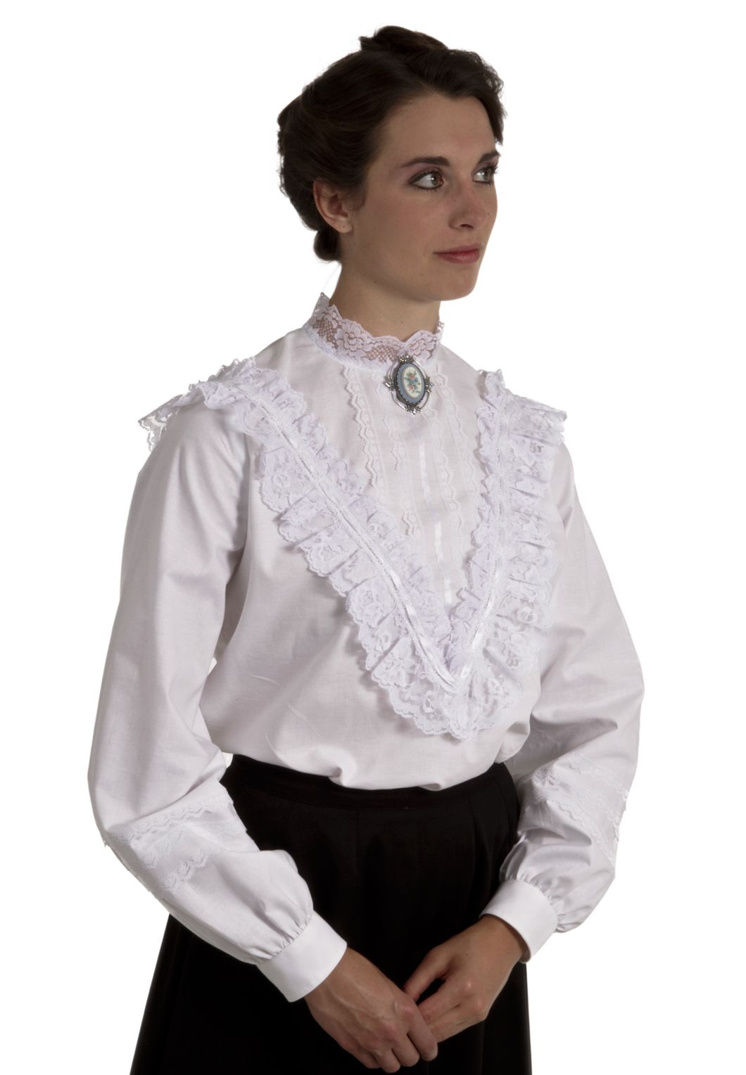 0d0c2e4959f6 Adele Victorian Blouse in Black Cotton (does lace   ribbon come in black )