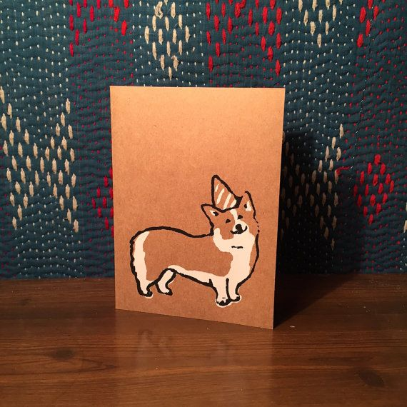 Corgi Greeting Cards  Brown with triangle fold by CasitaPress