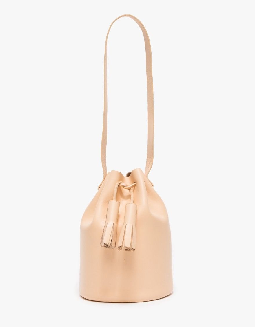 A Modern Smooth Leather Bucket Bag In From Building Block Features