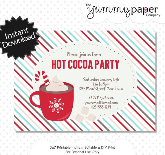 Editable Hot Cocoa Party Invitation Instant By Yummypaper On Etsy