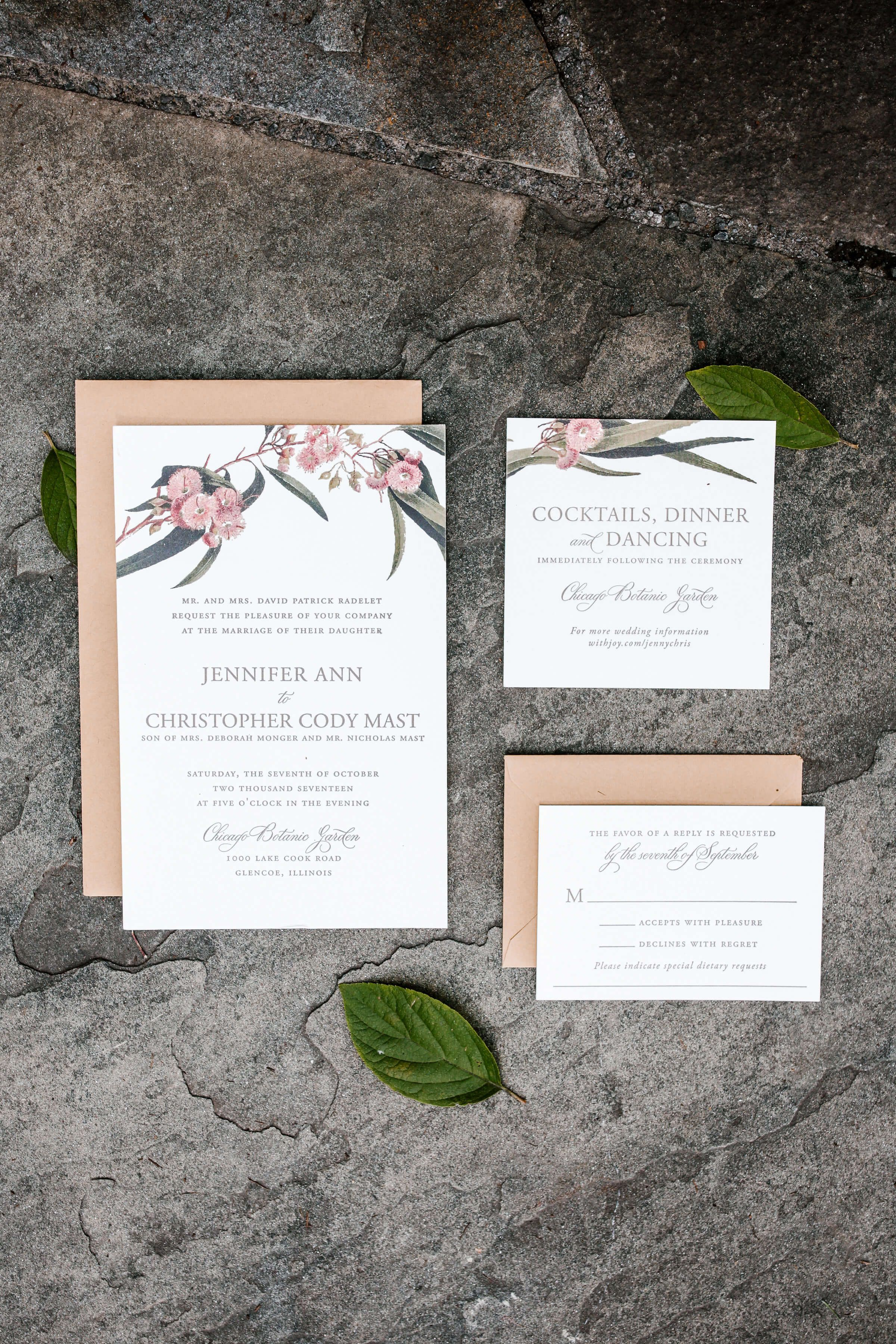 Burgundy Botanic Fall Wedding Invitation Nico