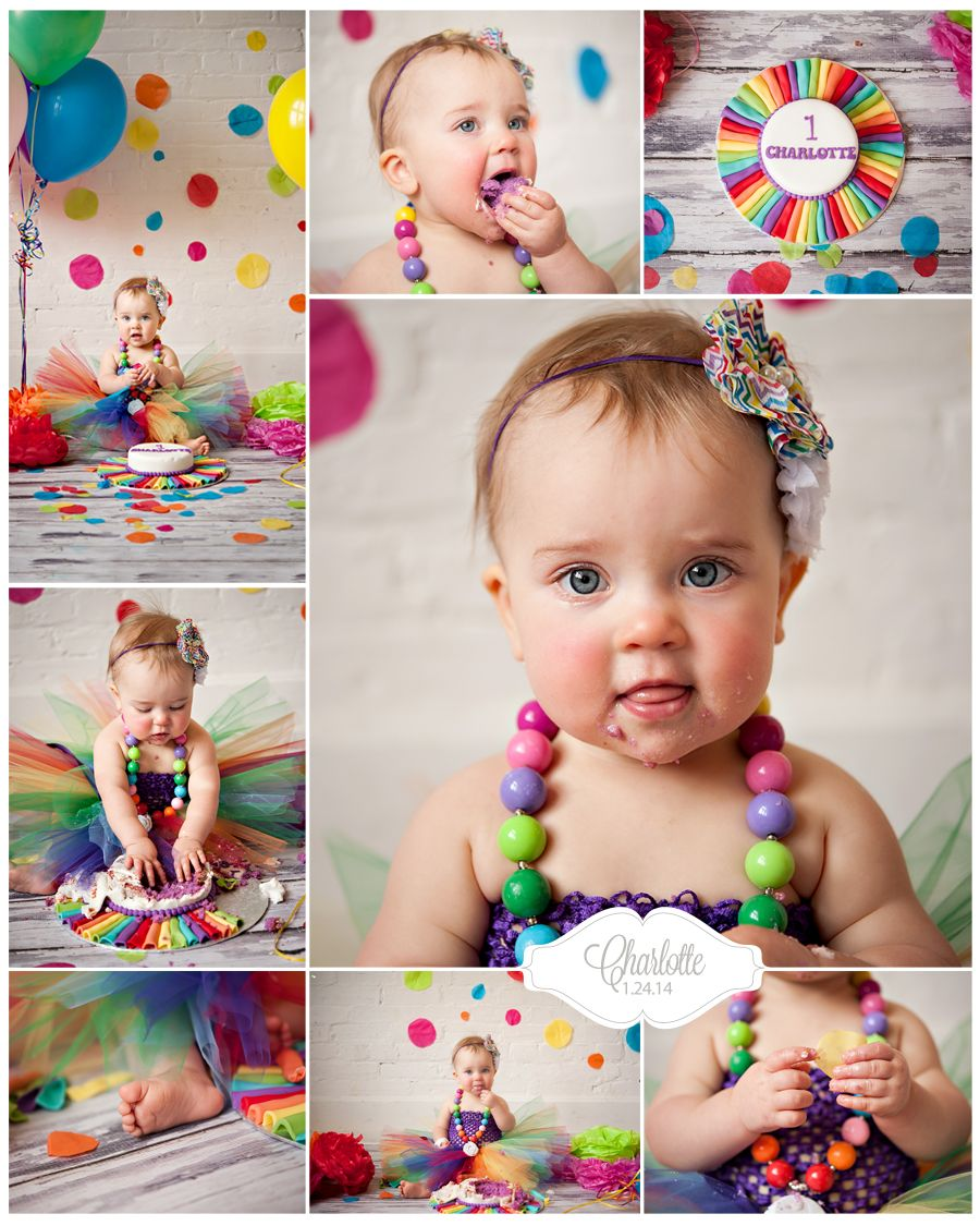 Rainbow themed cake smash Kelly Morin Photography Winnipeg MB