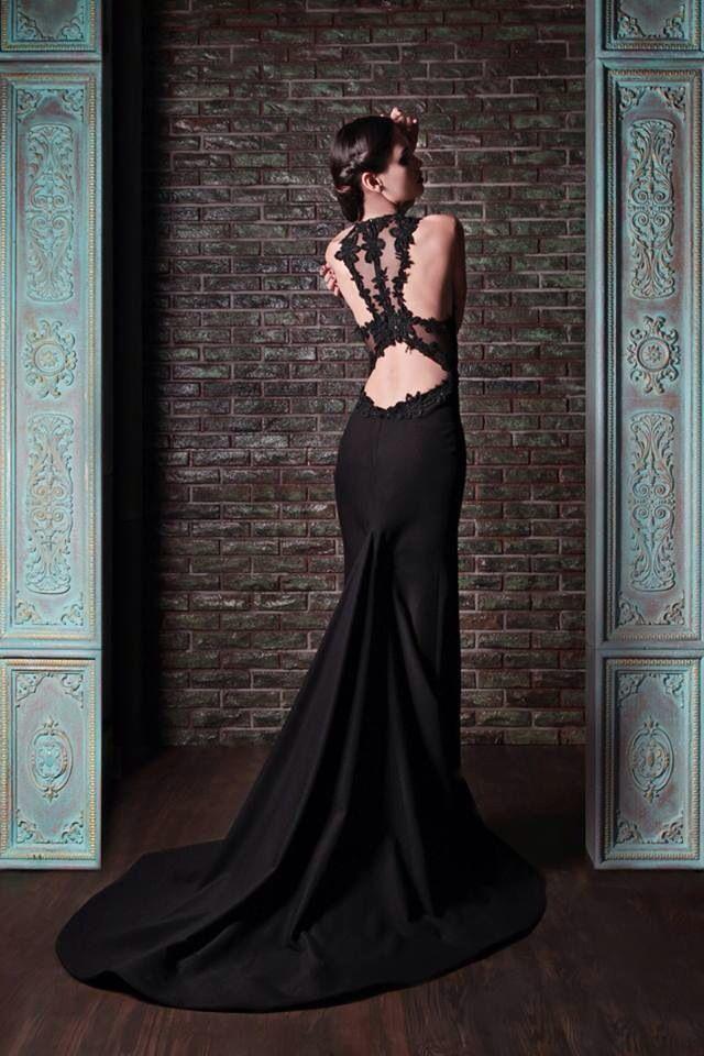Black Backless Wedding Dress