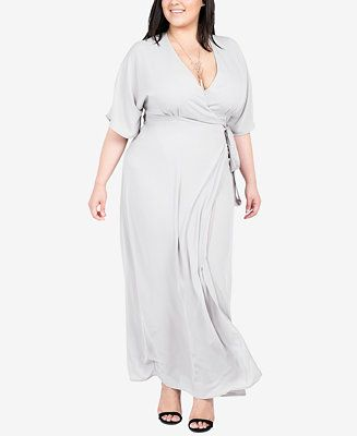 Standards And Practices Trendy Plus Size Wrap Maxi Dress - Plus Size ...