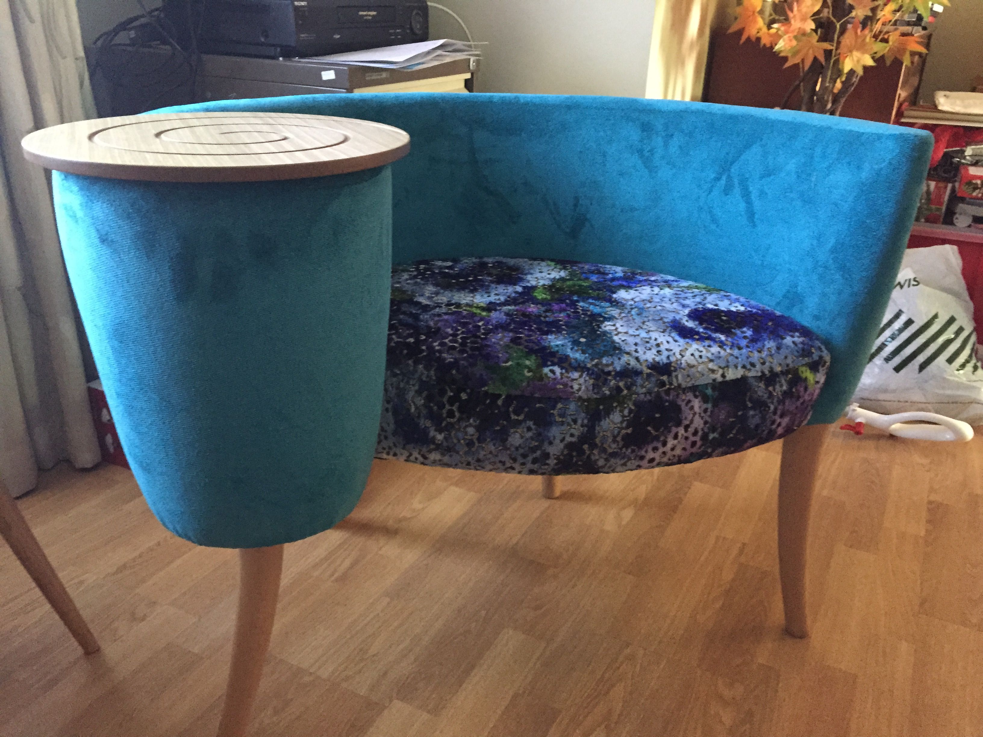Statement Chair With Integrated Table This Is In Designers Guild Mattiazzo Cobalt With J Brown Dakota Teal Statement Chairs Chair Designers Guild