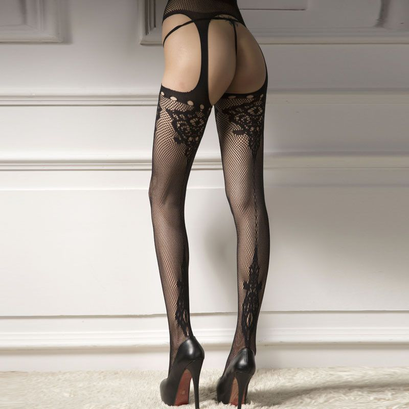 a9441daf349 Sexy Women Sheer Fashion Lace Top Thigh-Highs Stockings   Garter Belt  Suspender