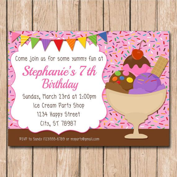 ice cream party birthday invitation summer spring 1 00 each