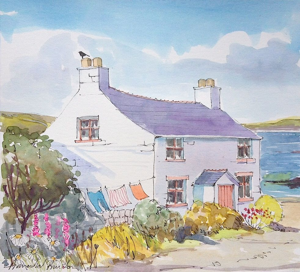 Seaside cottage watercolour acuarelas pinterest for Watercolor cottages