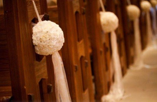White pomanders with tulle for possible aisle decor bruiloft love this idea for pew floral arrangements for my wedding junglespirit Choice Image