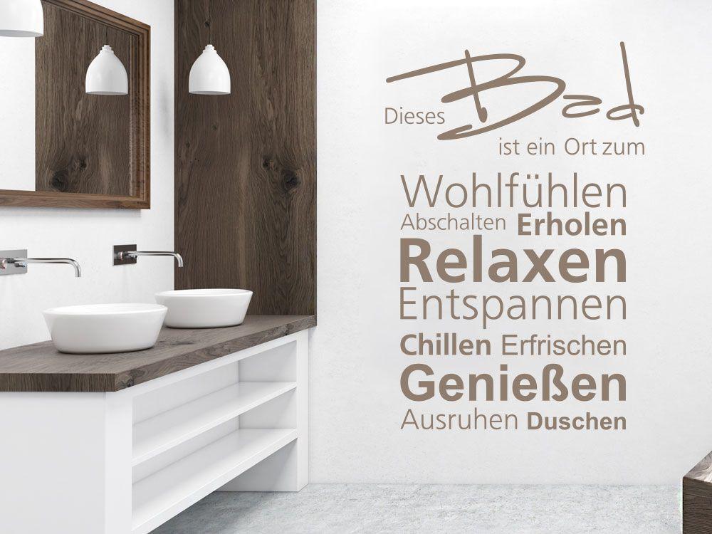Wandtattoo mit Wortwolke Dieses Bad für das Badezimmer ...