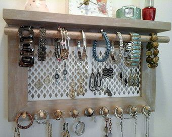 Jewelry Organizer Wall Mount Necklace Bracelet Ring Earring Holder