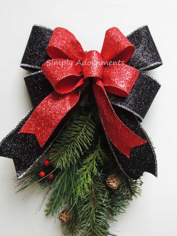 Items Similar To Metallic Red Black Bow Red Black Christmas Wreath Bow  Glitter Black Red Christmas Tree Bow Red Black Swag Christmas Red Black  Party Decor ...