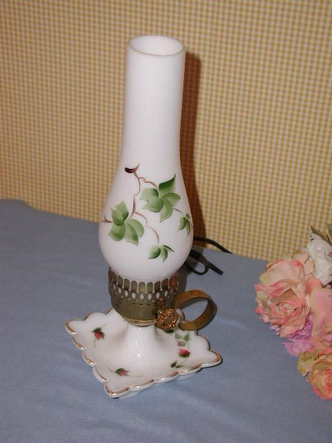 VINTAGE MILKGLASS DRESSER LAMP NIGHT LITE MILK GLASS ROSEBUDS. FOR SALE IN MY BLUJAY STORE. http://www.blujay.com/?page=ad&adid=3247620&cat=11120000