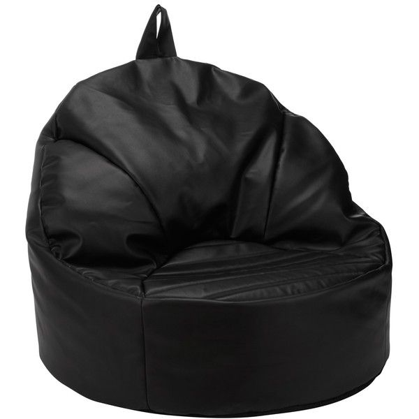 John Lewis Snug Bean Chair, Black Faux Leather ($115) ❤ Liked On Polyvore