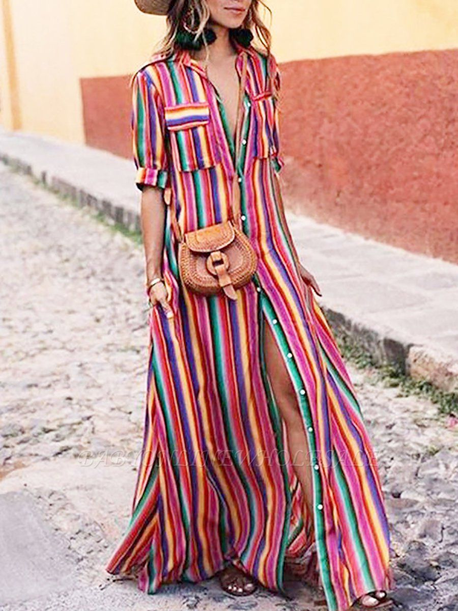 626ea2c82fb Plus Size Shirt Collar Maxi Dress A-line Dress Short Sleeve Boho Pockets Striped  Dress