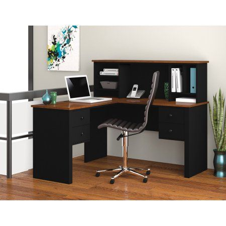 somerville l shaped desk with hutch in black tuscany brown rh pinterest com
