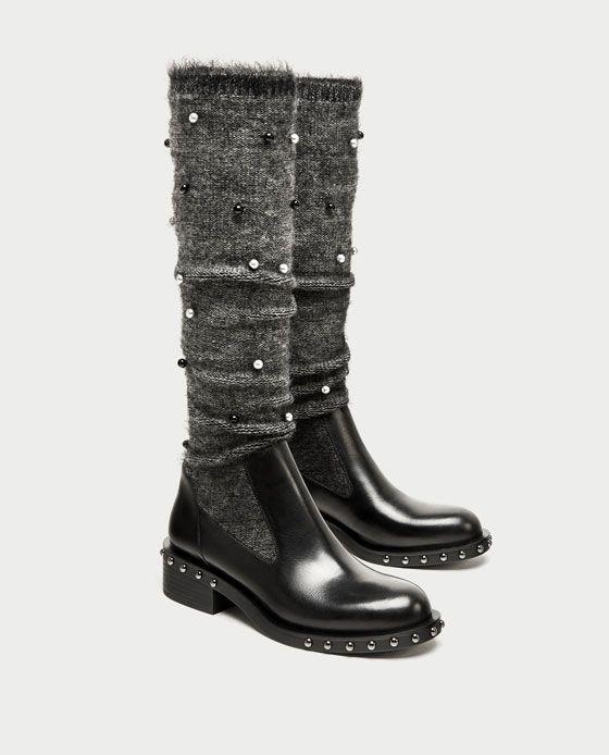 af23524effba Bottines plates style chaussettes zara - L empire des chaussures