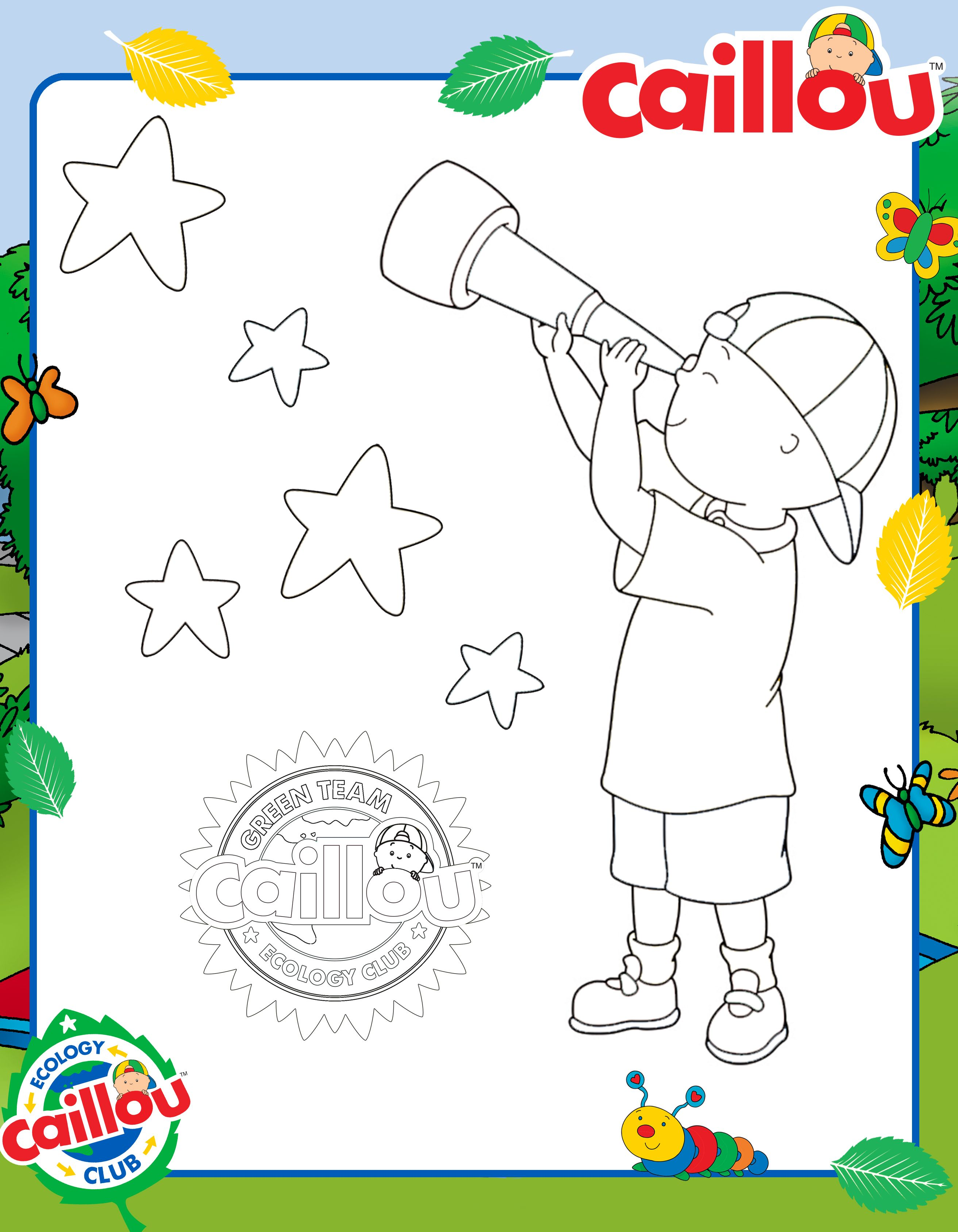 Count the stars with Caillou and this fun #EarthDay Coloring Sheet ...