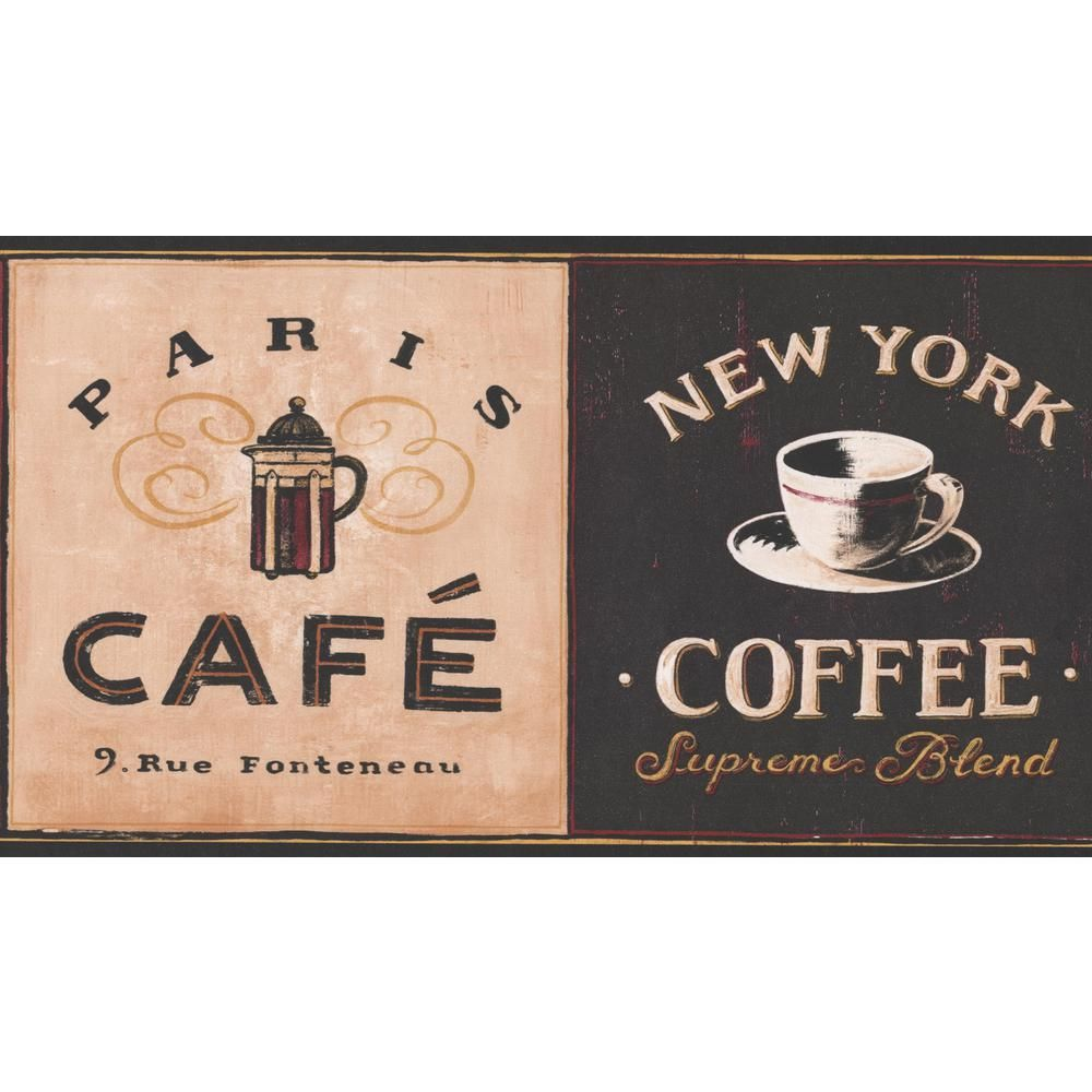 York Wallcoverings Coffee Shops around the World Vintage