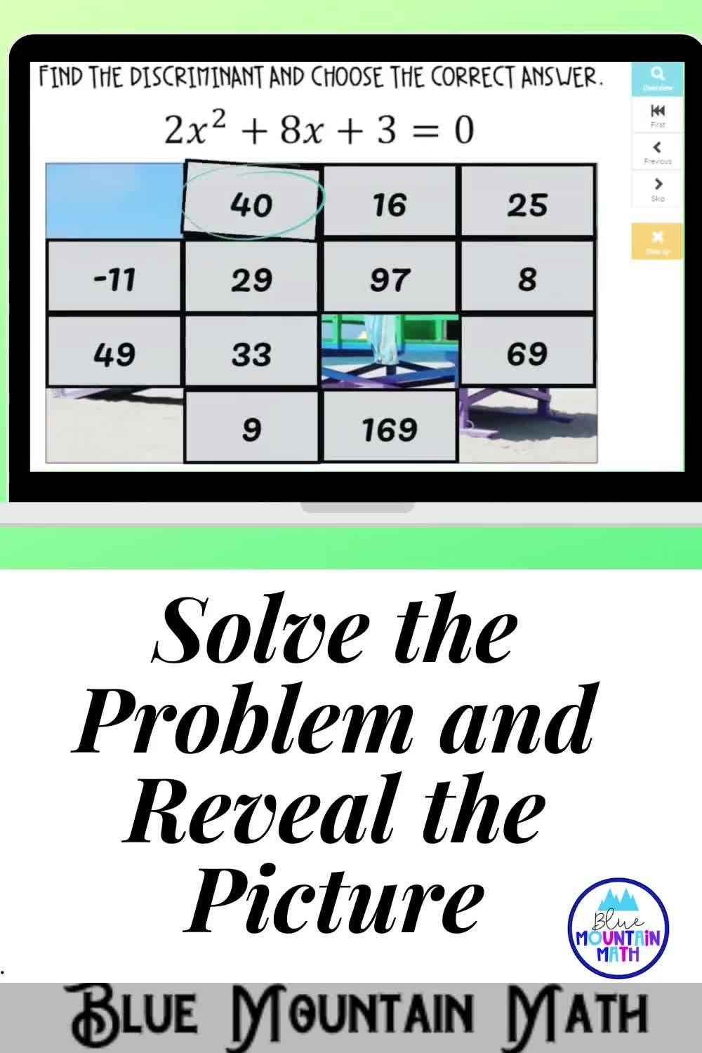 Finding The Discriminant Picture Reveal Boom Cards Digital Task Cards Video Video Teaching Procedures Solving Inequalities Task Cards [ 1500 x 1000 Pixel ]