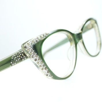 pointy green rhinestone cat eye glasses from thenovelty on etsy