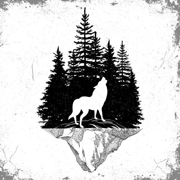 Wolf Stencil Eps Free Vector Download: Wildlife Tattoo Template Wolf Forest Icons Silhouette