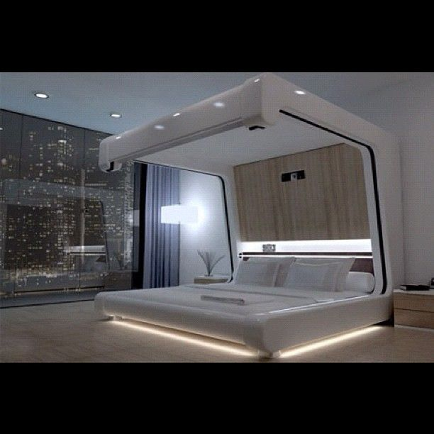 Master bed with built in projector. Smart thinking!