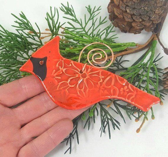 Cardinal bird ornament ceramic bird ornament bird Christmas | Etsy