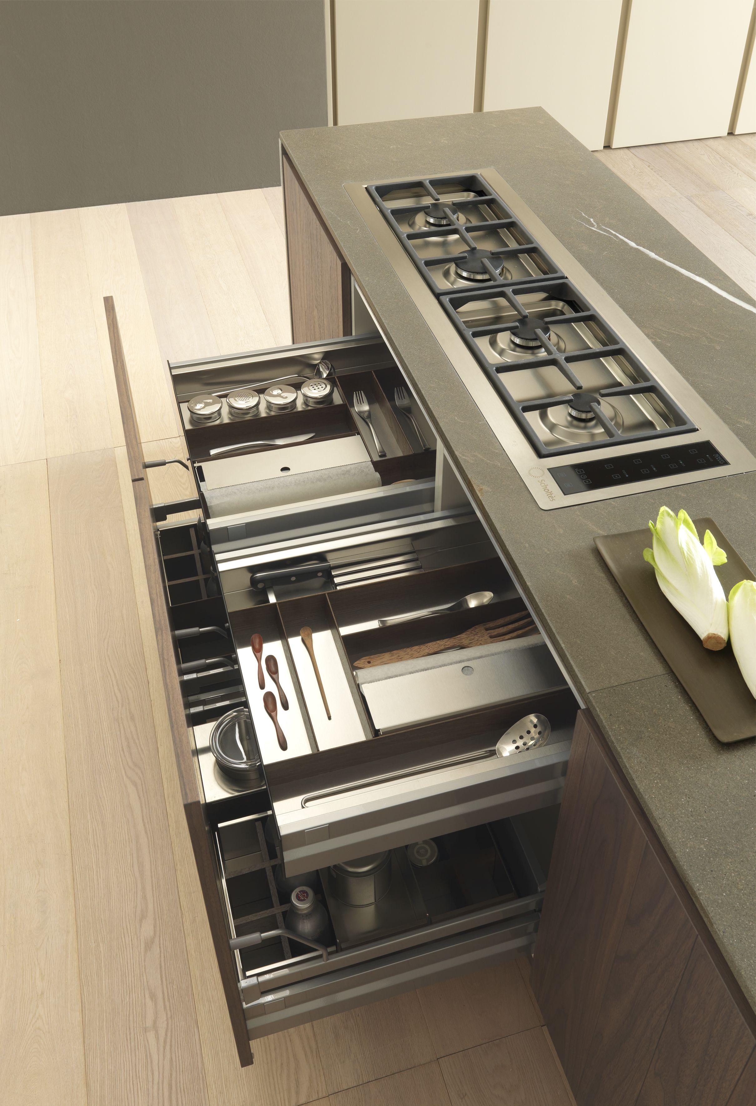 Best Tecnorock Stainless Steel Dark Oak Cutlery Tray For 640 x 480