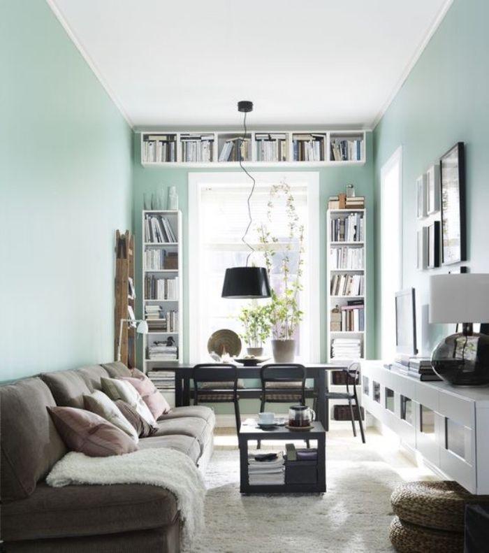 1001 Conseils Et Idees Pour Une Deco Couleur Vert D Eau Decoration Canape Gris Salon Vert Et Deco Vert D Eau