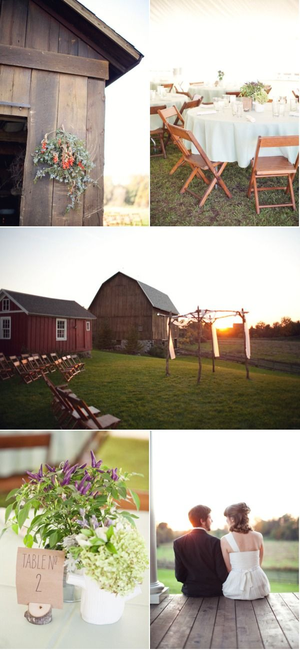 I like the outside wedding with the reception right there in the barn!!