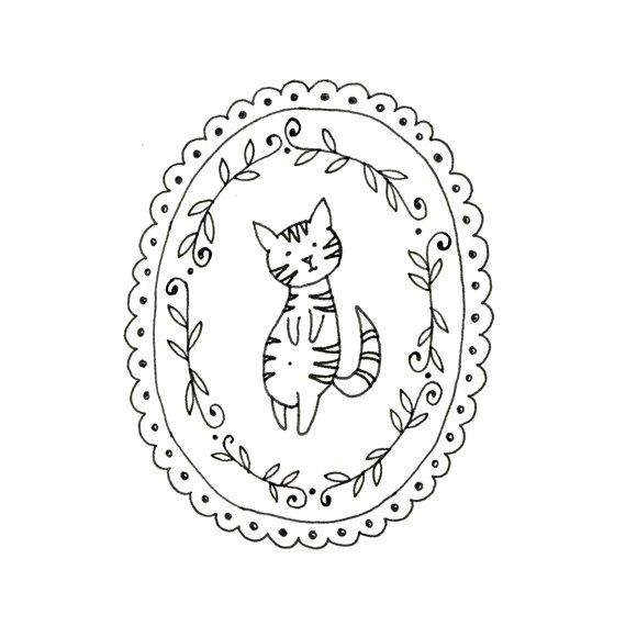 Cat Embroidery Pattern Kitty Digital Downloadable 0006 | Bordado ...