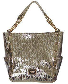 52f7f2a583 Mk Mirror Metallic Signature Delancy Large Shoulder Handbag Purse ...