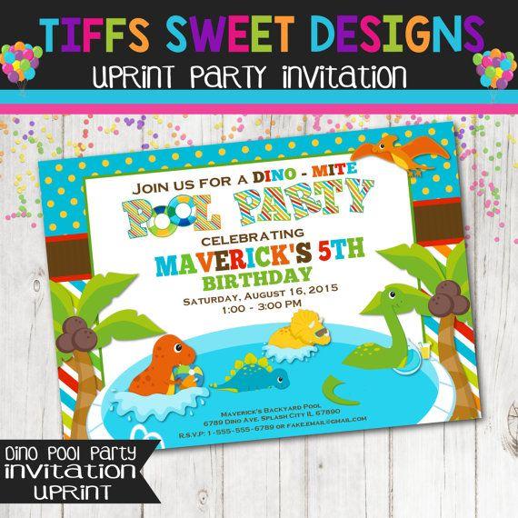 Dinosaur Pool Party Invitation Birthday By TiffsSweetDesigns