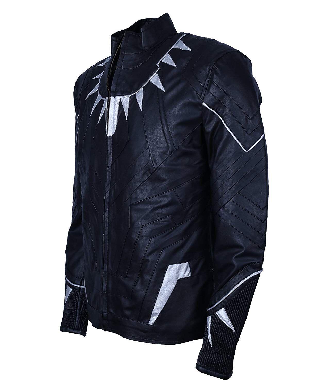 Beeti Mens Black Faux Leather Panther Jacket Amazon.co.uk