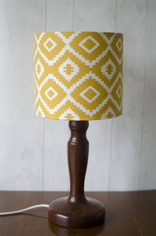 Aztec Lampshade, Saffron Yellow, Aztec Nursery, Drum Lampshade, 30cm Lamp  Shade,