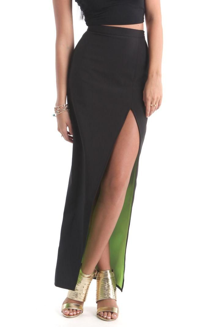 b791033c45b2 Rehab Maxi Skirt with Slit