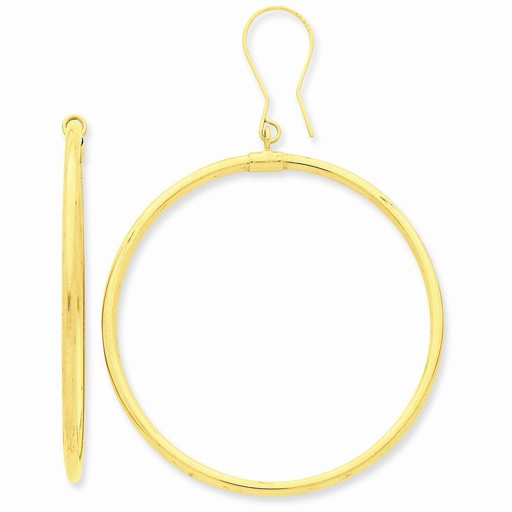 14k Tube Hoop Dangle Earrings