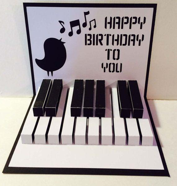 Happy birthday piano 3d popup svg cutting file - Cumpleanos feliz piano ...