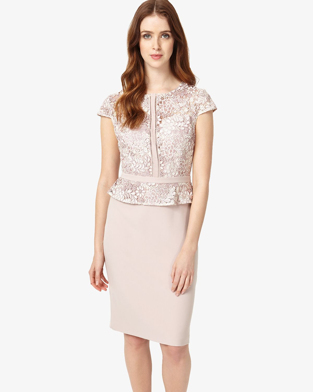 This chic occasion dress features a lace overlay on the bodice that ...